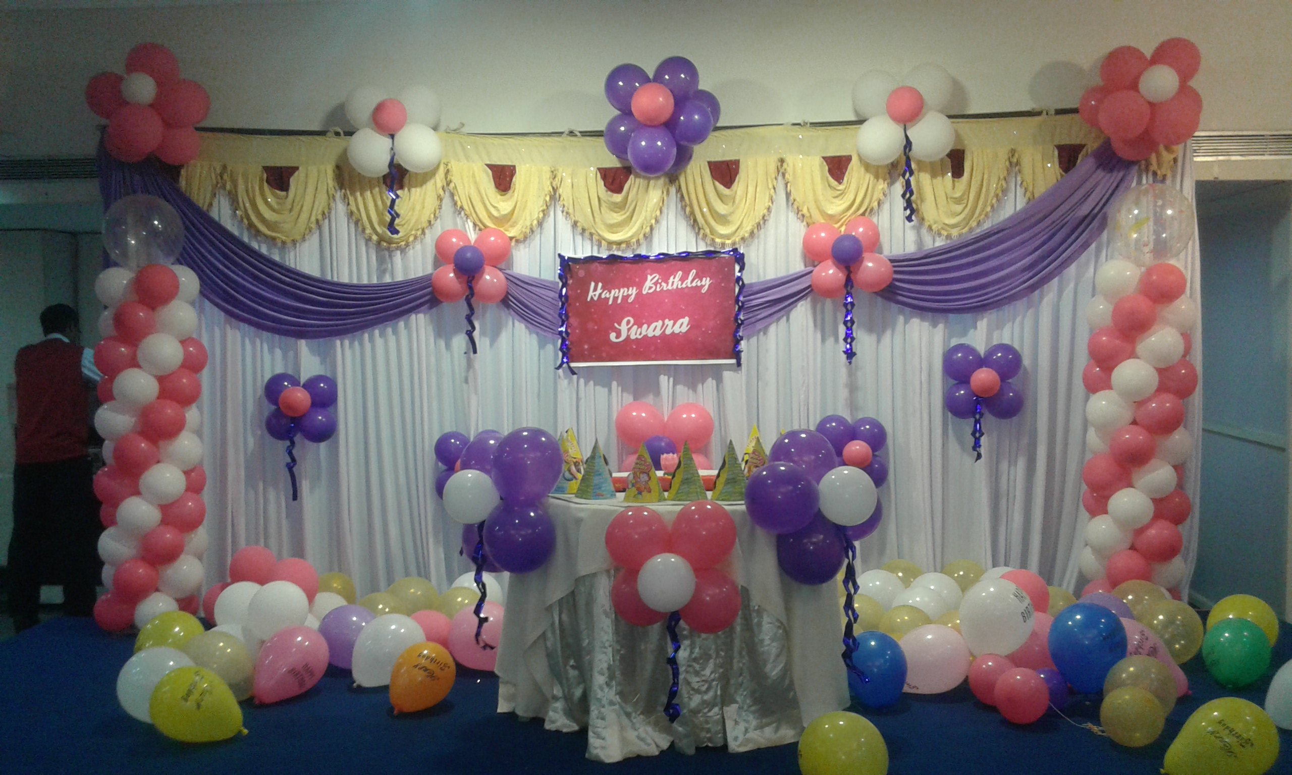 Baby girls birthday party decoration bangalore for Balloon decoration in bangalore