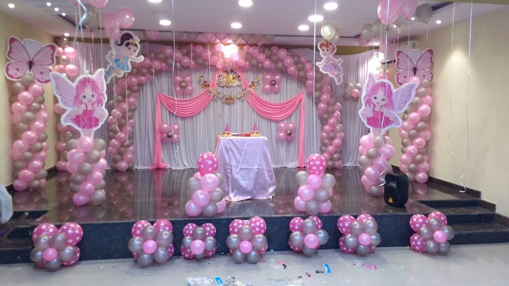 Baby angel theme balloon decoration for 21st birthday hall decoration ideas