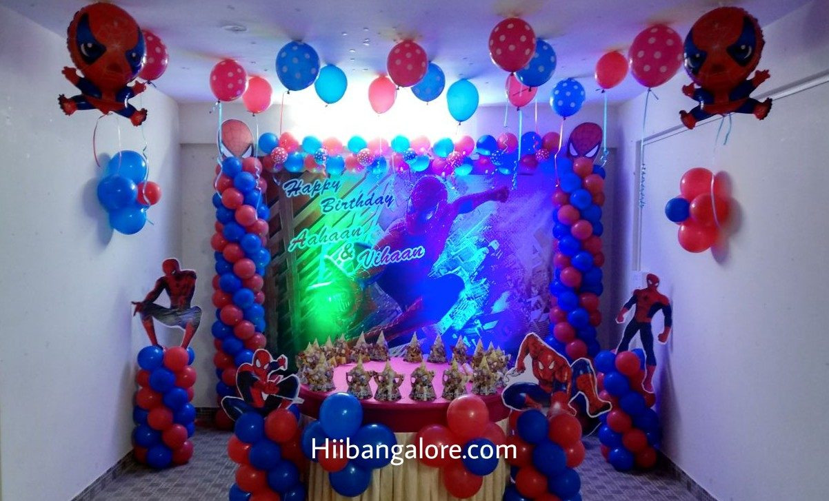 spiderman theme birthday decoration