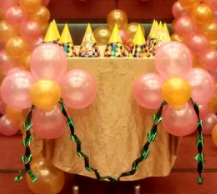Birthday party cake table decoration