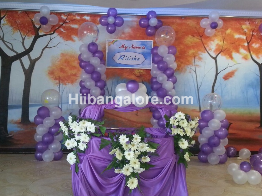 Naming ceremony decorations bangalore for Balloon decoration for naming ceremony