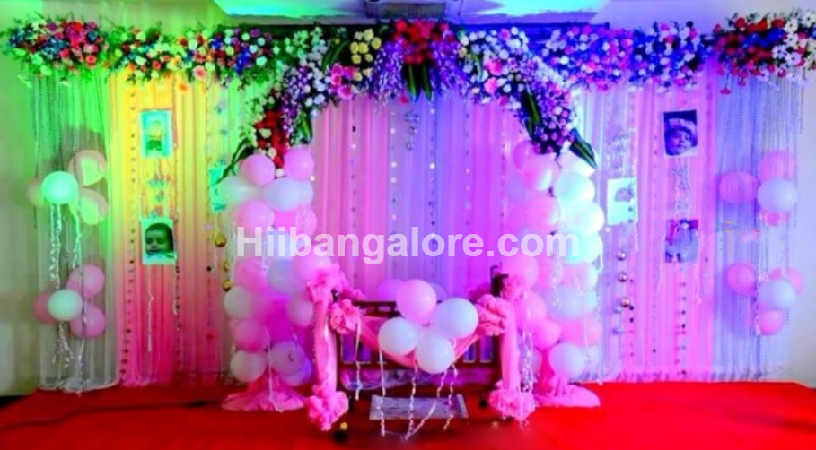 Naming ceremony decorations bangalore for Baby name ceremony decoration