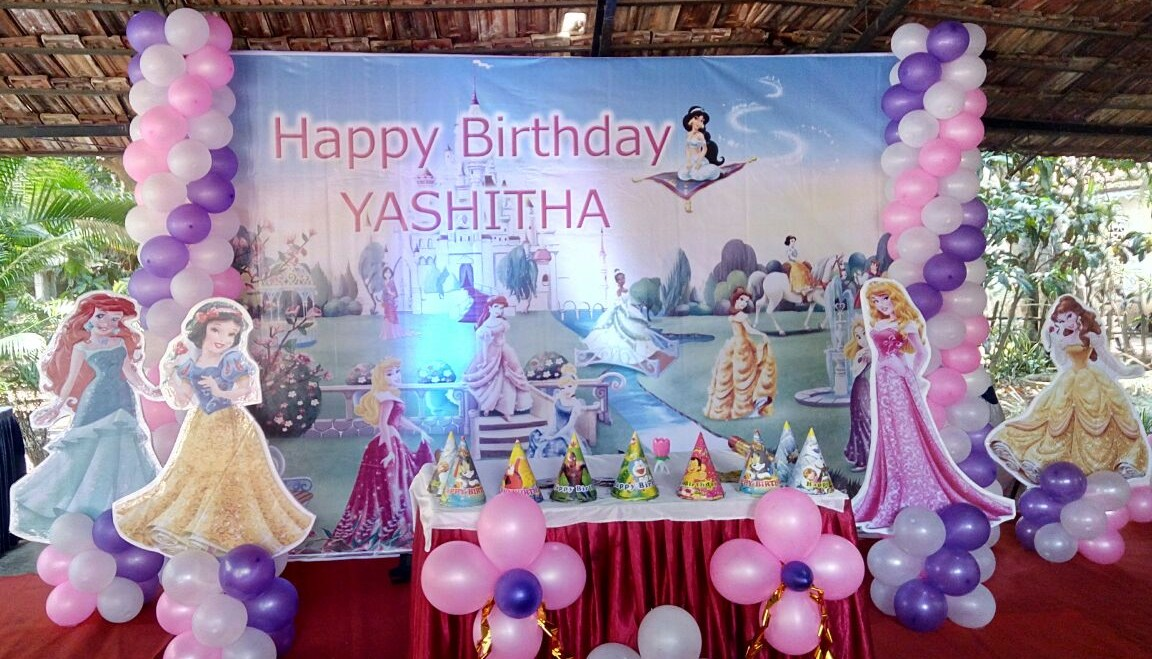 princess theme birthday banner decoration