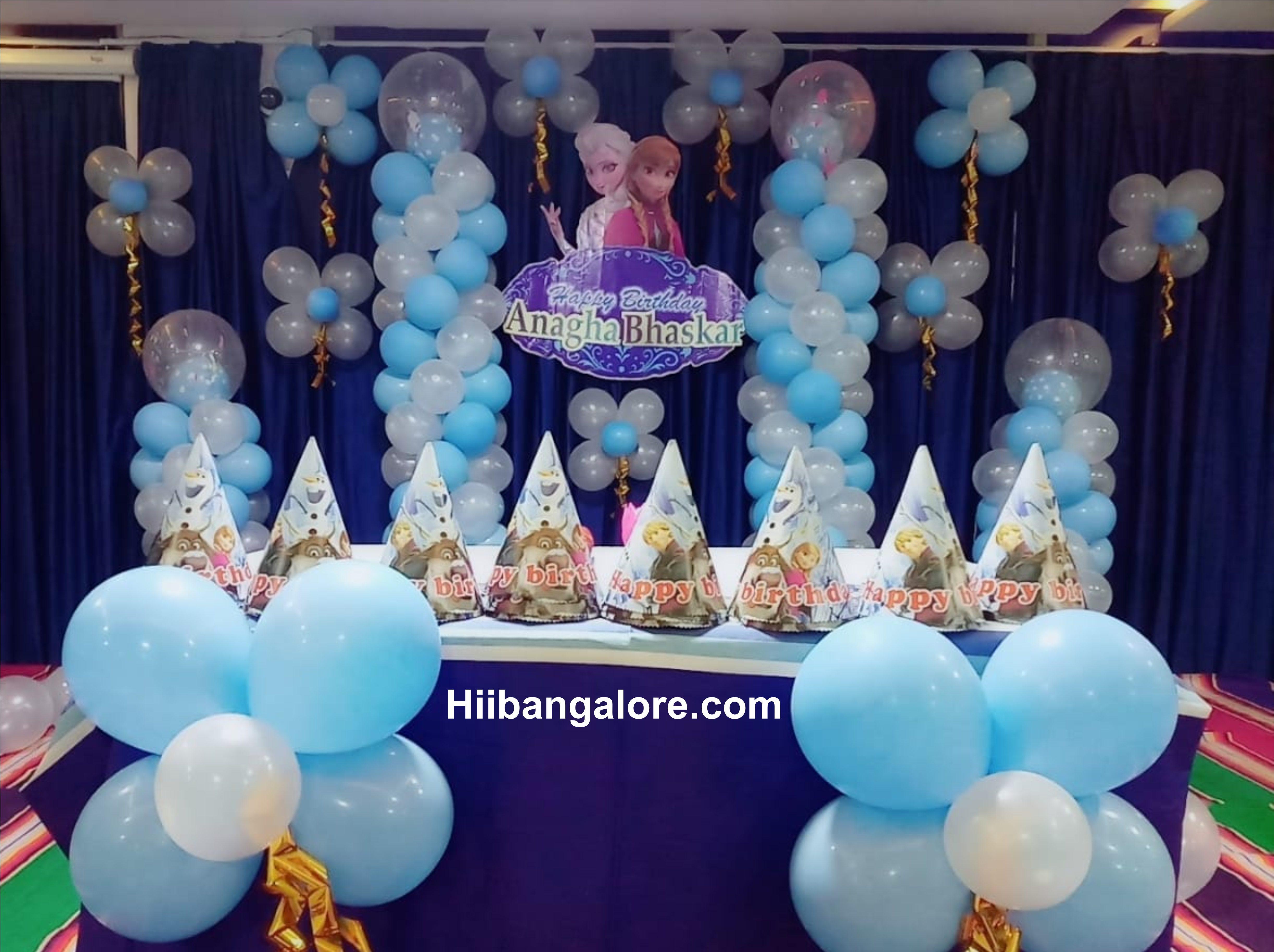 simple frozen theme decoration bangalore