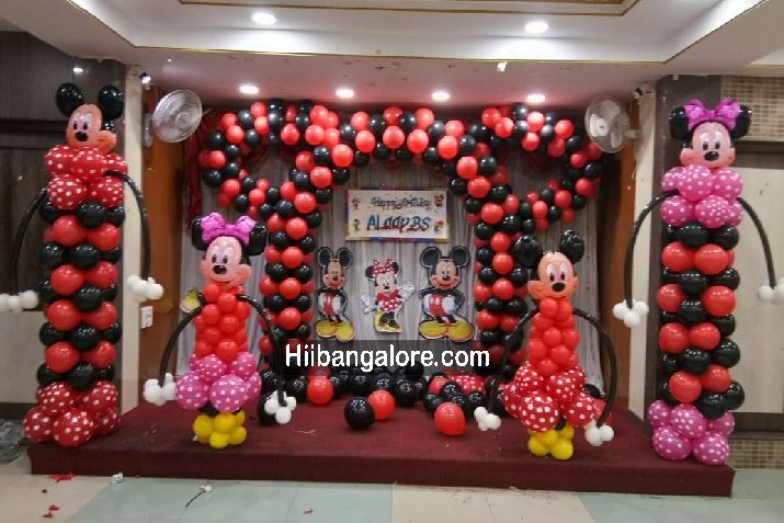 Mickey And Minnie Mouse Theme Birthday Balloon Decoration