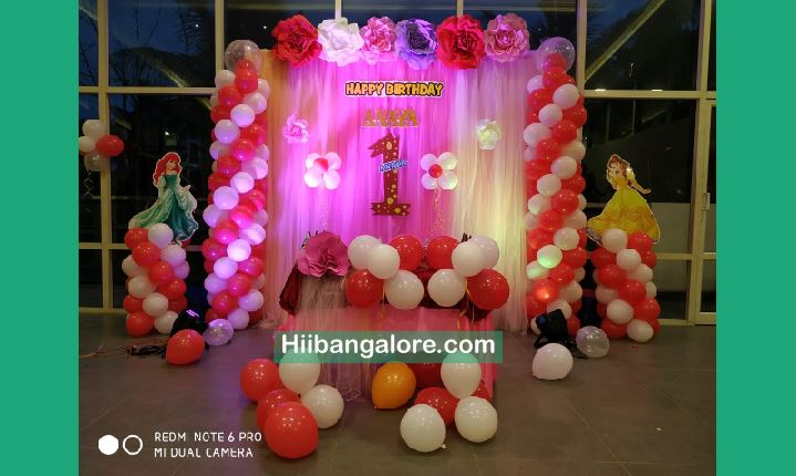 Princess Theme Paper Flowers Birthday Party Decoration Bangalore Best Birthday Party Organisers Balloon Decorators Birthday Party Caterers In Bangalore